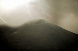 Lightning Striking Mountaintop